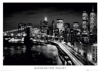 Poster Manhattan - night b&w