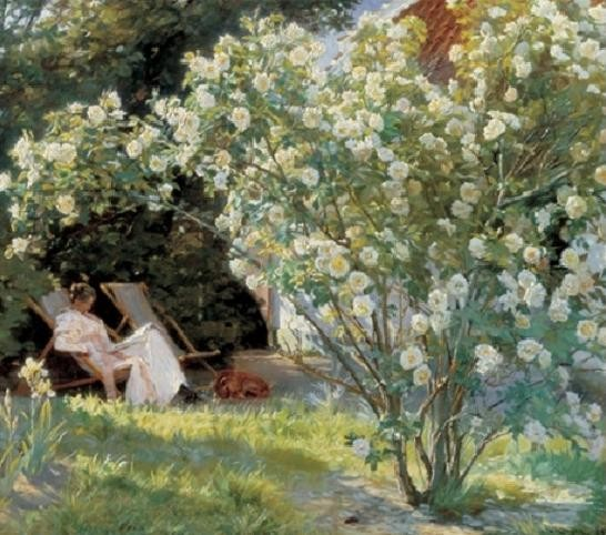Marie in the Garden (The Roses) Kunstdruck