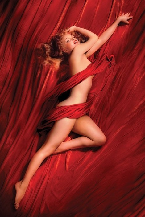 Poster MARILYN MONROE - red isilk