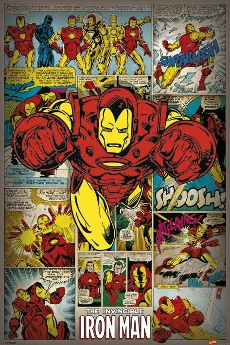 Poster MARVEL COMICS - iron man retro