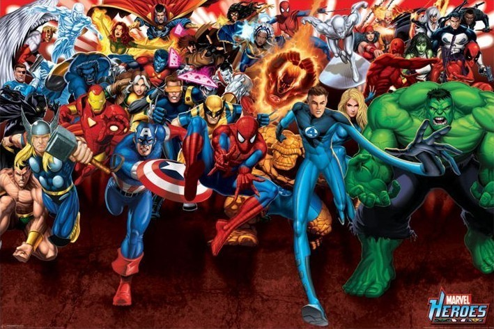 Póster MARVEL HEROES - ataque