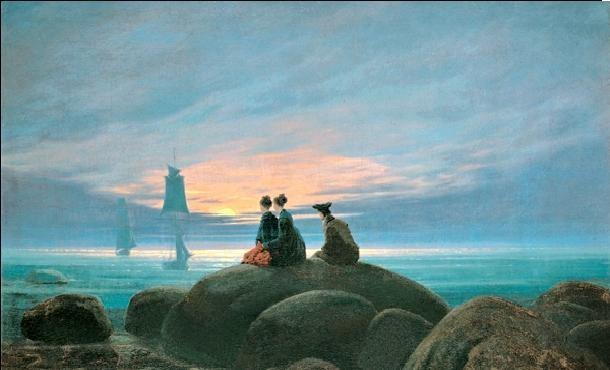 Moonrise Over the Sea, 1822 Kunstdruck