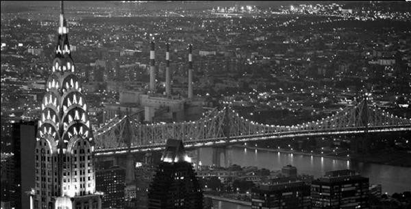 Konsttryck New York - The Chrysler Building and Queensboro bridge