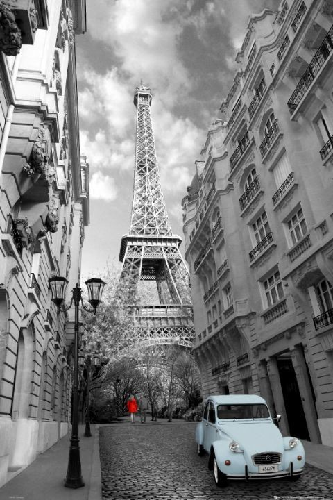 Poster Parijs - red girl blue car