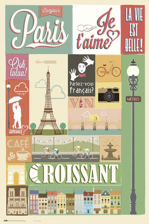 Póster Paris - Collage