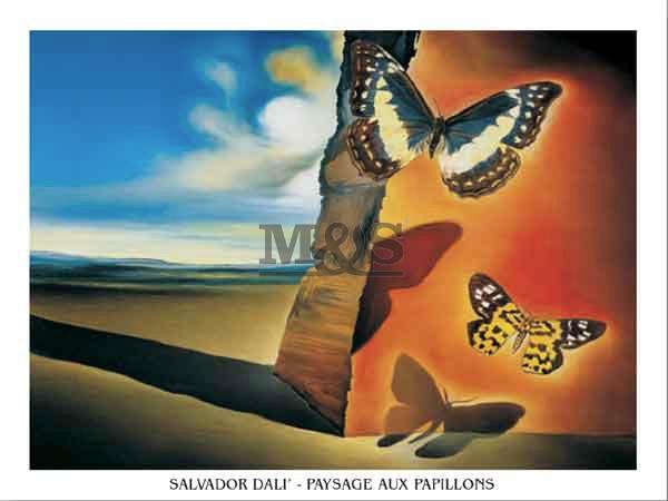 Paysage Aux Papillons  Kunstdruck