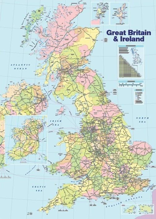 Poster Politisk karta över Storbritannien