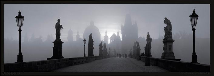 Poster Prague – Charles bridge / b&w