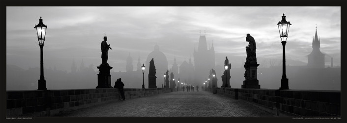 Poster Prague – Charles bridge / lamp b&w