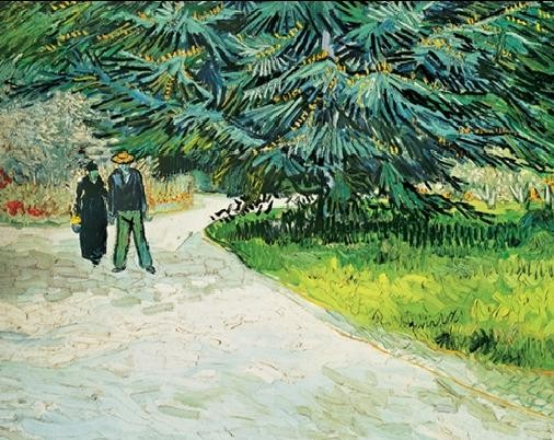 Konsttryck Public Garden with Couple and Blue Fir Tree - The Poet s Garden III, 1888