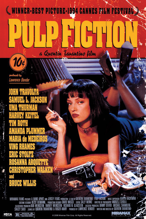 Poster PULP FICTION - uma on bed