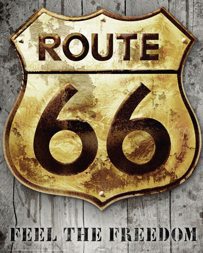 Poster ROUTE 66 - golden sign