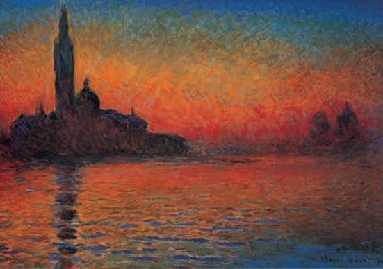 Konsttryck San Giorgio Maggiore at Dusk - Dusk in Venice (Sunset in Venice, Venice Twilight)