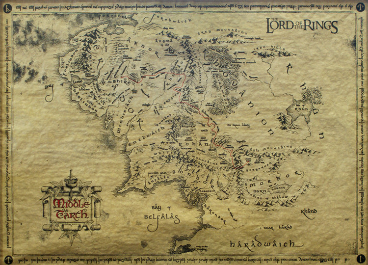 Плакат The Lord Of The Rings - Middle Earth Map (special)
