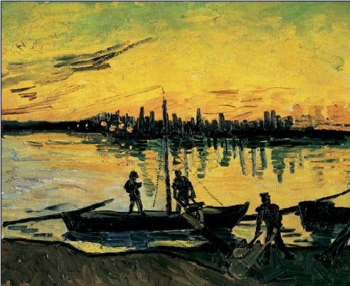 Konsttryck The Stevedores in Arles, 1888