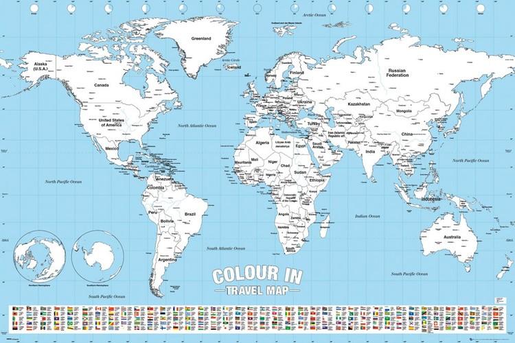 Poster Affisch Varldskarta Colour In Pa Europosters Se