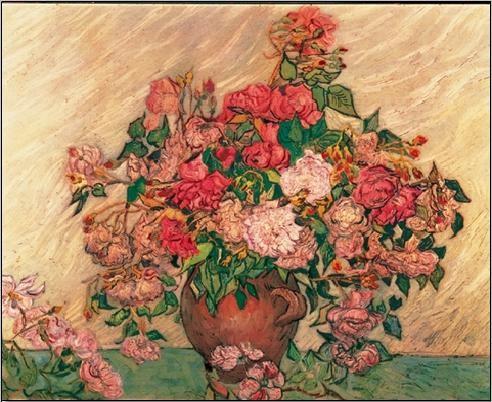 Konsttryck Vase with Pink Roses, 1890