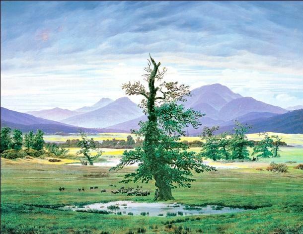 Village Landscape in Morning Light - The Lone Tree, 1822 Kunstdruck