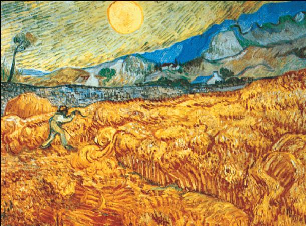 Konsttryck Wheat Field with Reaper, 1889