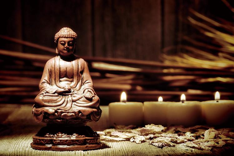 Buddha - Candles Print på glas