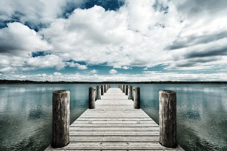 Landing Jetty with Sea of Clouds Print på glas