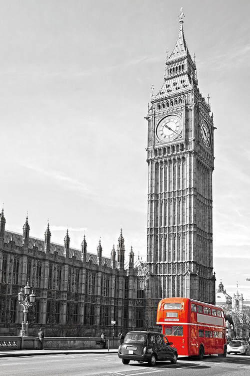 London - Big Ben and Red Bus Print på glas