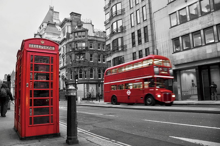 London - Red Bus and Telephone Box Print på glas