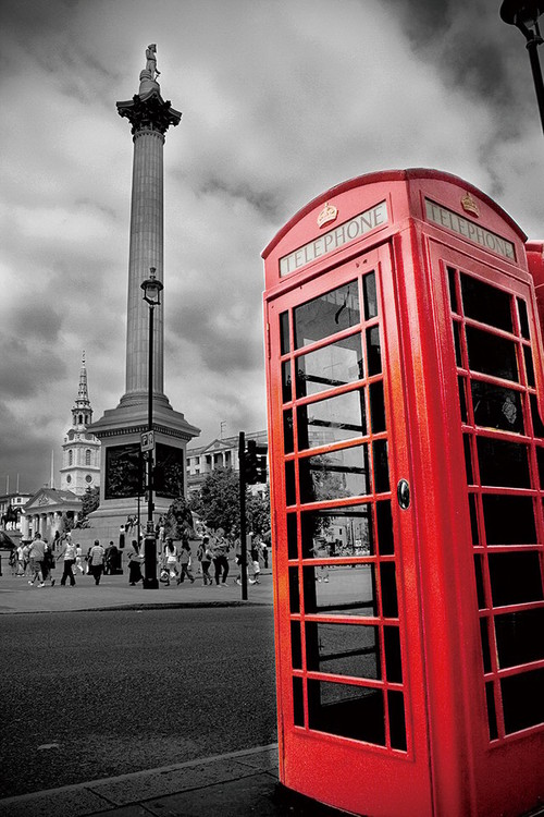 London - Red Telephone Box Print på glas