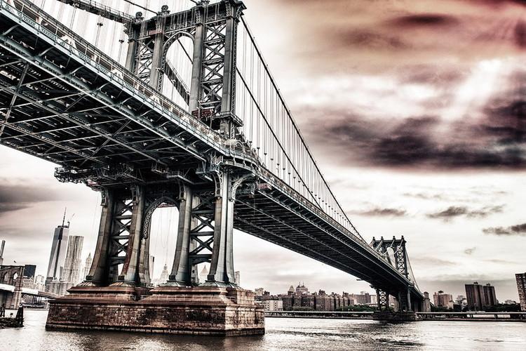 New York - Brooklyn Bridge, Apocalypse Print på glas