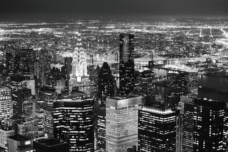 Night City - Aerial View Print på glas