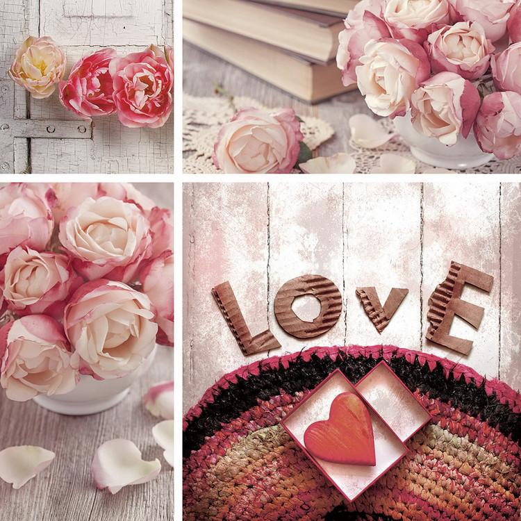 Pink World - Love Print på glas