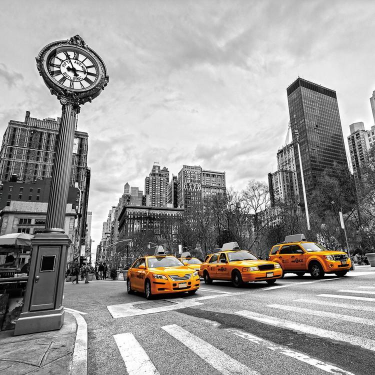 Yellow Taxi - b&w Print på glas