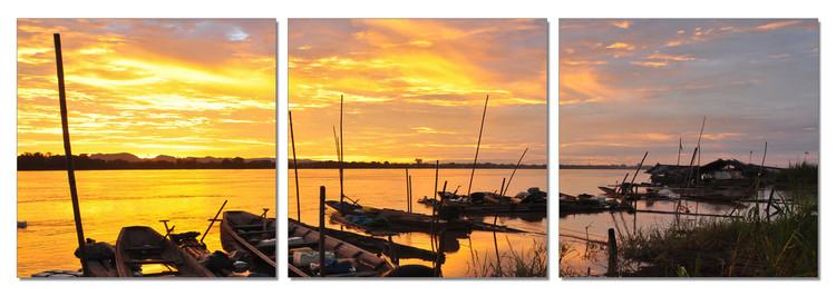 Quadro Sunset in the harbor boat