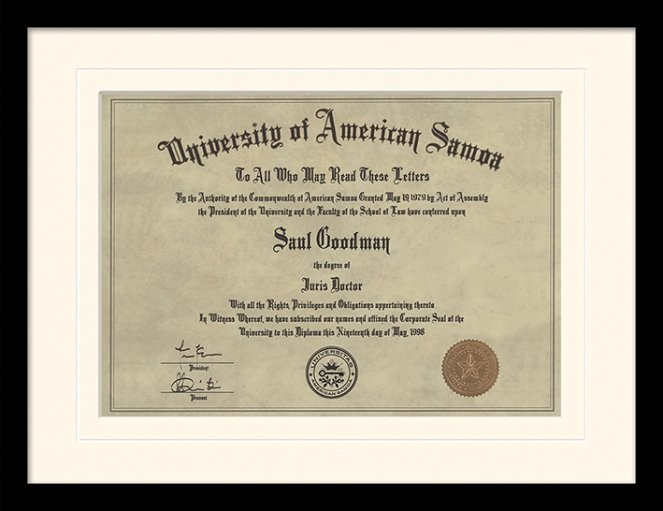 Better Call Saul - Diploma rám s plexisklem