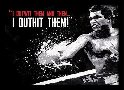 Muhammad Ali - outwit outhit rám s plexisklom