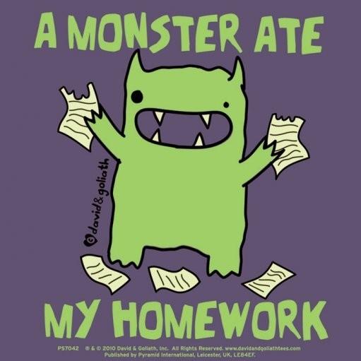 Samolepka MONSTER MASH - a monster ate my homework