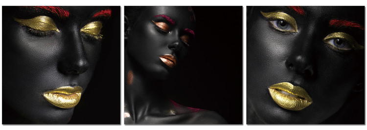 Black makeup - golden lips Schilderij