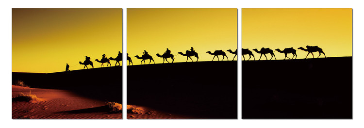 Camel caravan on the horizon Schilderij