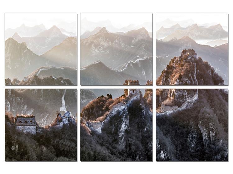 China - Great Wall of China, Mountains Schilderij