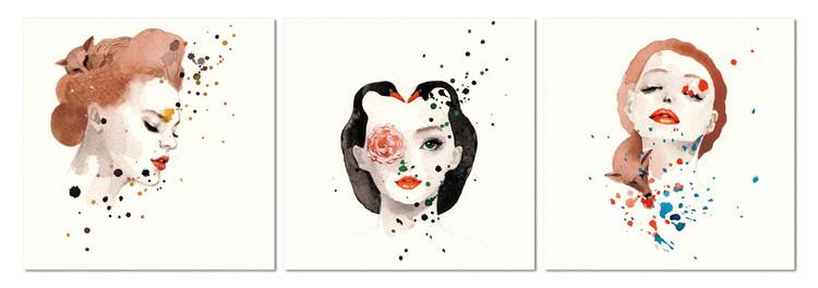Flower woman Schilderij