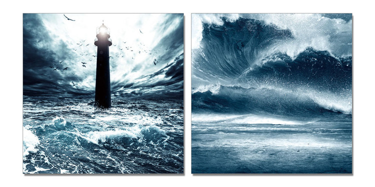 Lighthouse in storm Schilderij