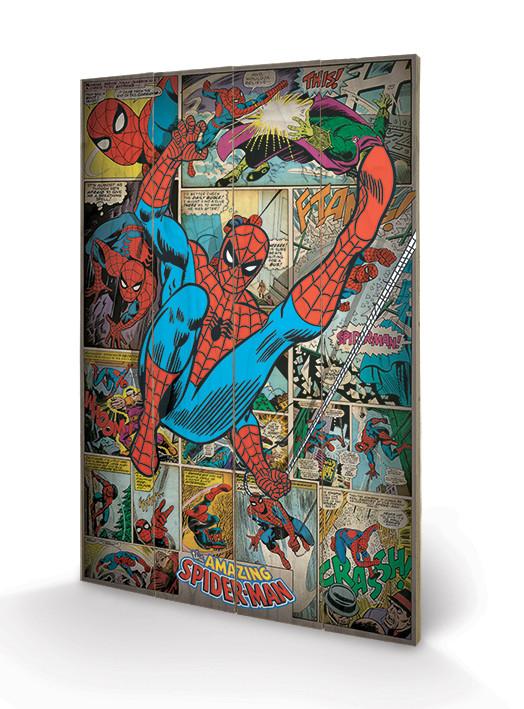 Marvel Comics - Spider-man Retro Schilderij op hout