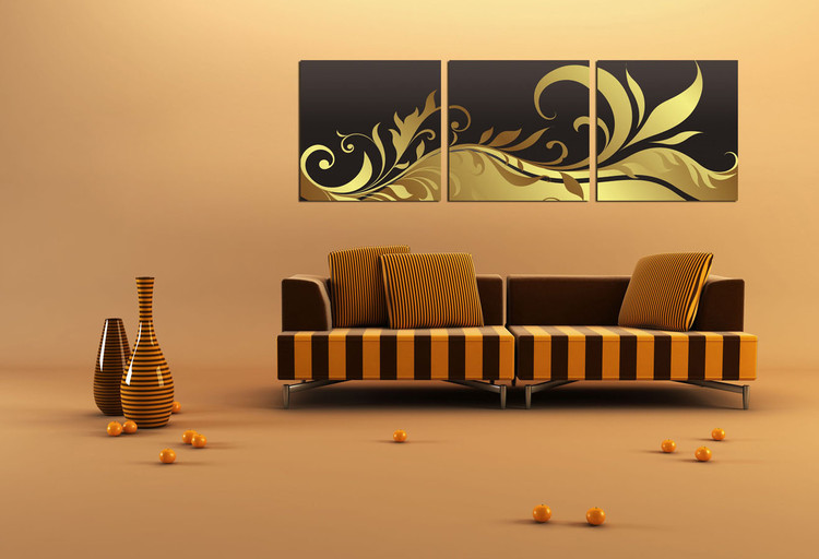 Modern Design - Black and Gold Ornament Schilderij