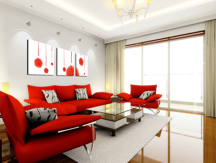 Modern Interieur Schilderij : Modern design red abstraction schilderij bestel nu op
