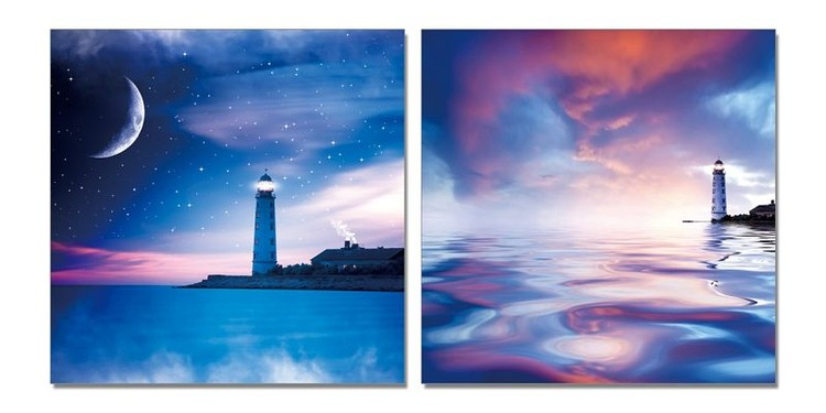 Night lighthouse Schilderij