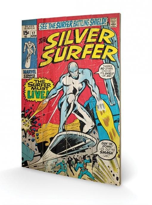 Silver Surfer - Must Live Schilderij op hout