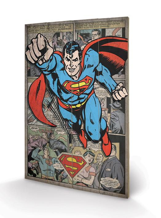 Superman - Comic Montage Schilderij op hout