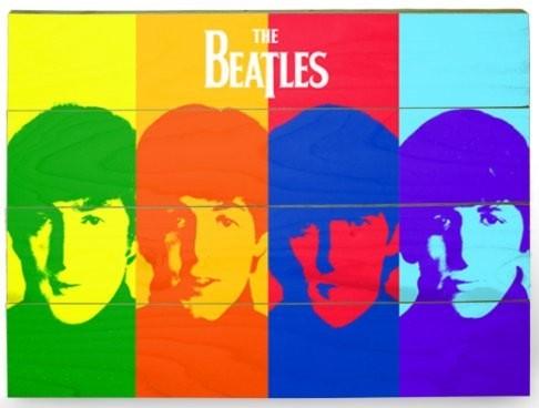 The Beatles - Pop Art  Schilderij op hout