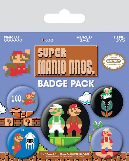 Set insigne Super Mario Bros. - Retro