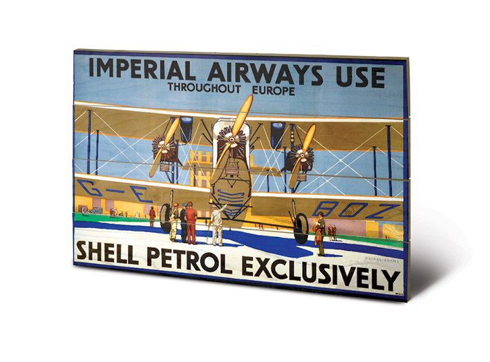 Shell - Imperial Airways plakát fatáblán